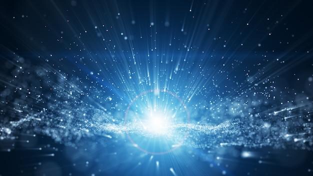 青色の背景、波の粒子とデジタル署名