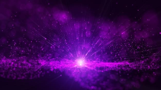 グローパープルダスト粒子キラキラ輝く抽象的な背景。