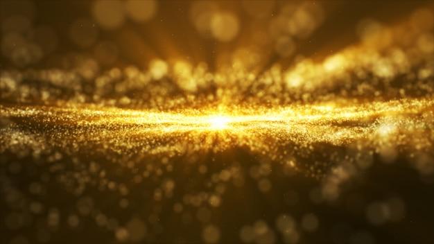 Свечение золотой пыли, частичный блеск искры абстрактный фон для празднования
