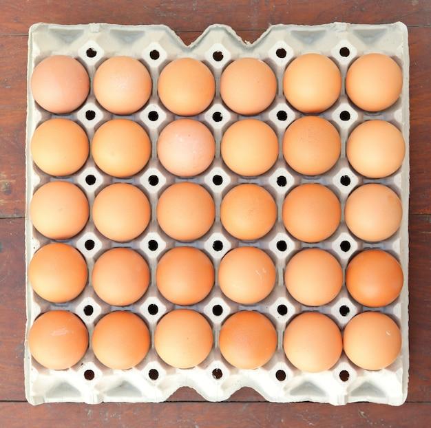 トレイの卵、上面図。