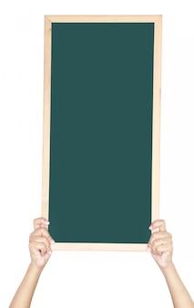 空白の黒板を持つ女性