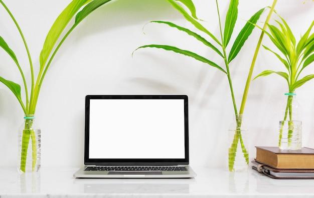 供給と大理石の机の上の植物とラップトップをモックアップします。