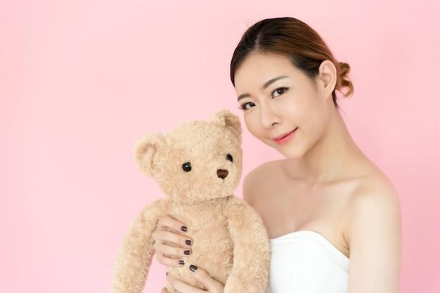 クローズアップ、美しい、若い、アジア人、女、顔、ピンク