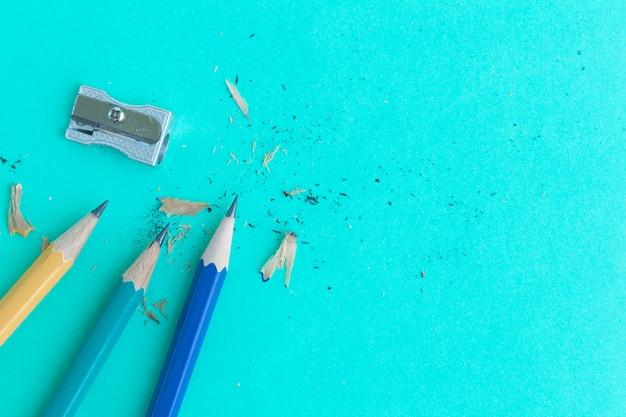 シャープナー、鉛筆、緑色、上から見た図