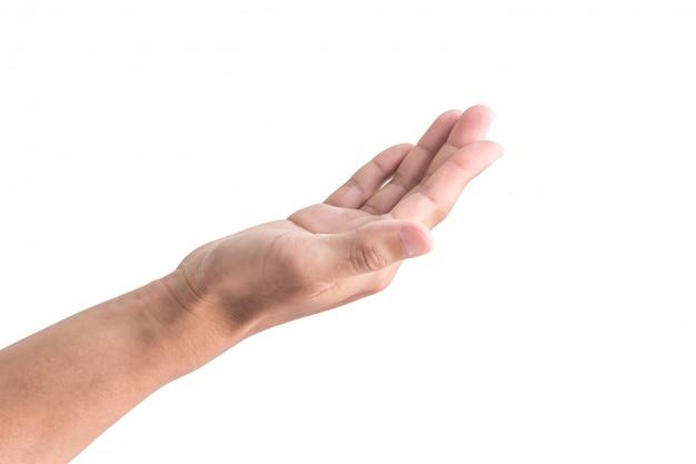 白で隔離される右手