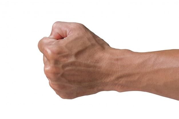白い背景の上の左拳