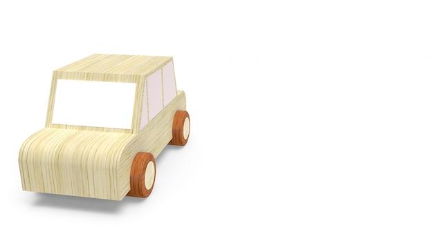 白の車の木のおもちゃ