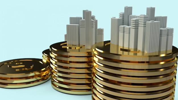 建物のモデルとプロパティコンテンツのゴールドコイン。