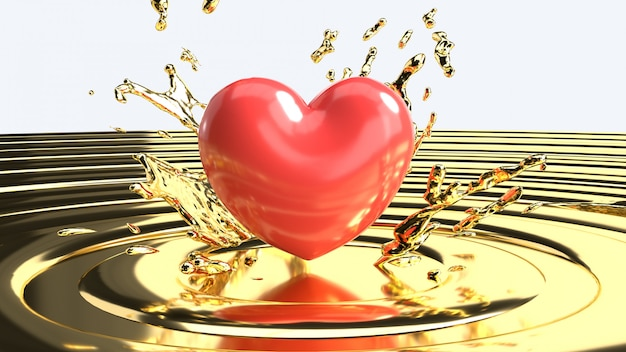 Красивое красное сердце на золотом жидкости, день святого валентина концепции