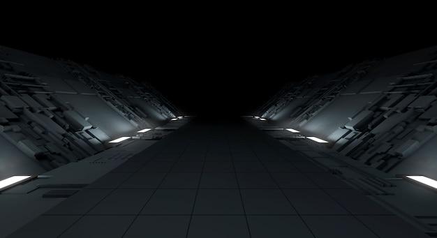 抽象的な暗い背景の未来的な機械