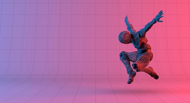 ロボットワイヤフレームのグラデーションの赤い紫色の背景にジャンプ