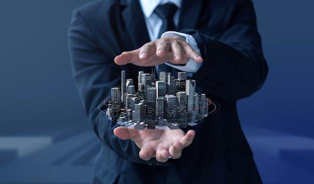 ビジネスの男性がデザインモダンな建物と不動産を作成します。