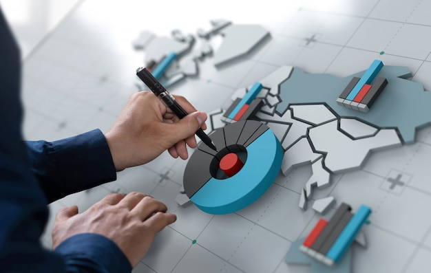 世界地図画面上のビジネスマンタッチ市場共有アイコン