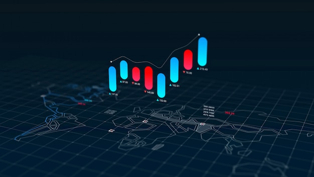 世界地図上の株式市場の燭台チャートインデックス