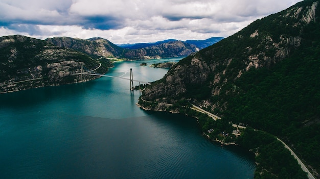 ノルウェー、航空写真、風景、海、山、