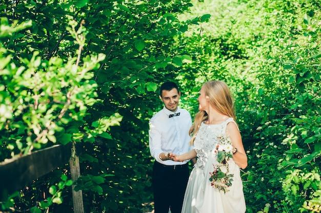 美しい花嫁と花婿の結婚式の公園で歩く