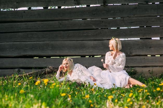 木製の壁に座っている双子の姉妹