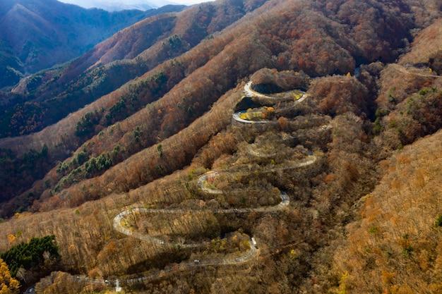 日光日本のいろは坂の曲がりくねった道の空撮。