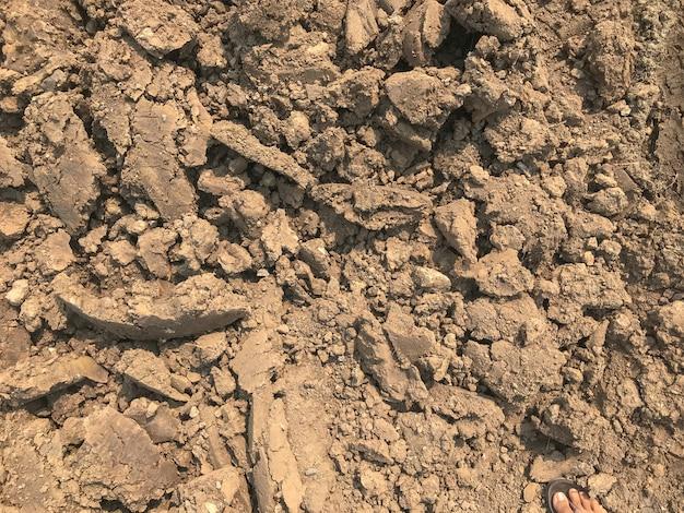 Куча трещины сухой грязи на строительной площадке