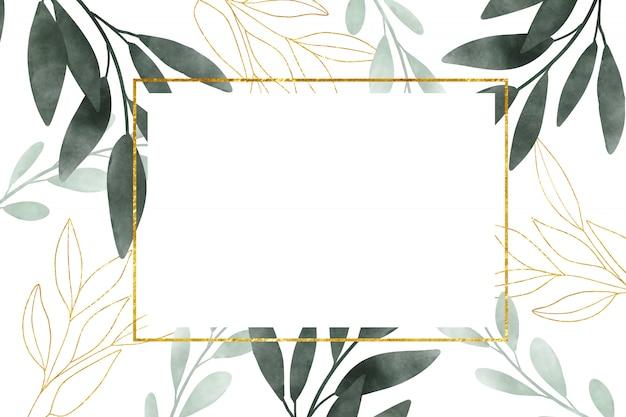 白い背景の上の葉を持つ水彩画フレーム。花と水彩の葉でゴールドフレーム。はがきのデザイン、結婚式の招待状。