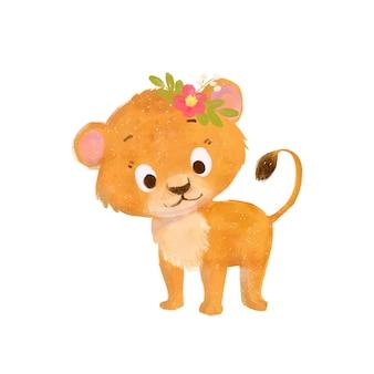 花輪を持つ小さなかわいい漫画ライオン