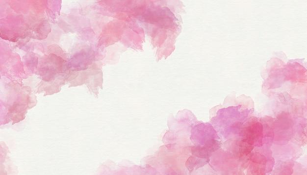 ピンクの水彩画は、紙のテクスチャ背景を描いた。