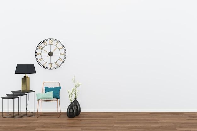 クラシックな時計の背景とヴィンテージウォールルームのインテリアダークウッドフロア
