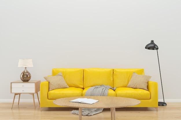 白い壁の黄色のソファのインテリアの背景