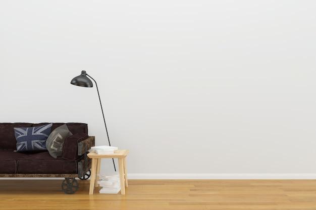 白い壁のロフトソファの木の床の背景テクスチャランプヴィンテージの本