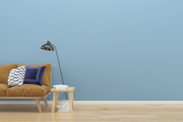 青色のパステルの壁ロフト茶色のソファの木の床の背景テクスチャランプヴィンテージ
