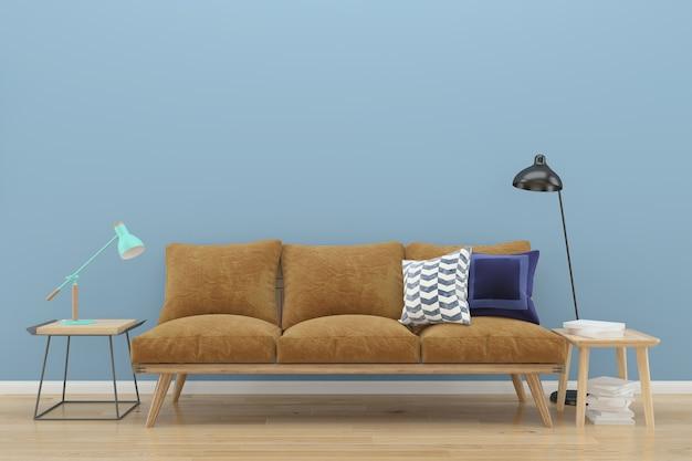 青のパステルの壁ロフト茶色のソファの木の床の背景テクスチャランプヴィンテージの本