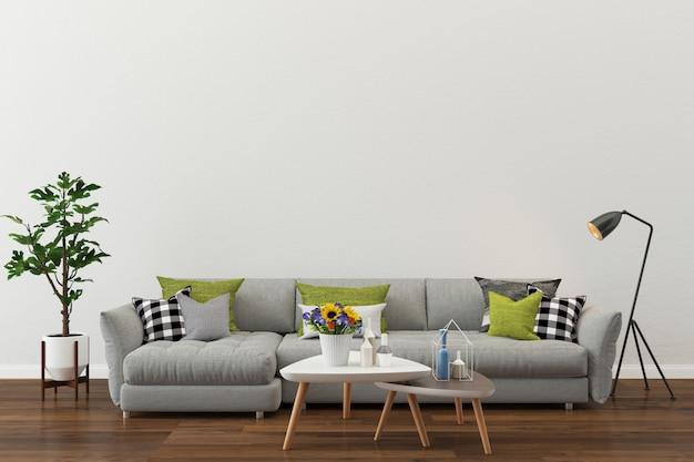 モダンな部屋の白い壁のテクスチャ背景の木の床の灰色のソファ