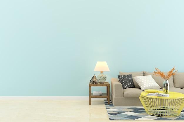 リビングルームのインテリアの青い壁の家の床のテンプレートの背景