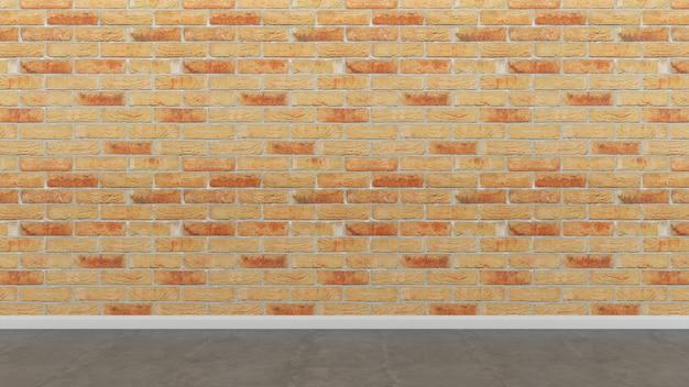 レンガタイルの壁と床の空の部屋の背景