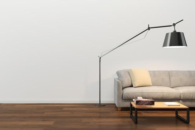 壁テクスチャ背景木材大理石の床ソファ椅子ランプ