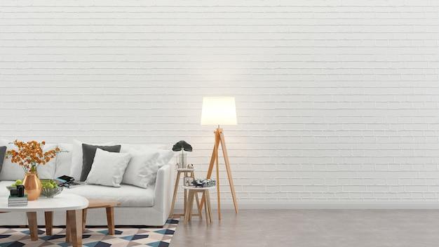 インテリアリビングルームのレンガの壁の白いソファの木のコンクリートの床