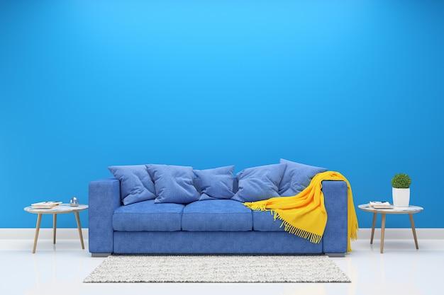 Синяя стена с темно-синим диваном и столом из дерева