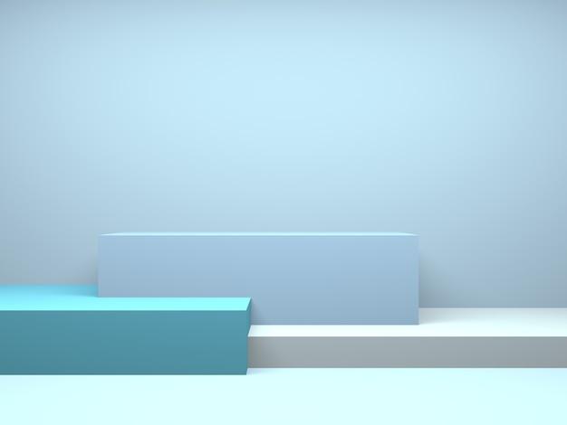 パステル調の表彰台四角形ジオメトリ青い部屋インテリア製品モックアップ背景