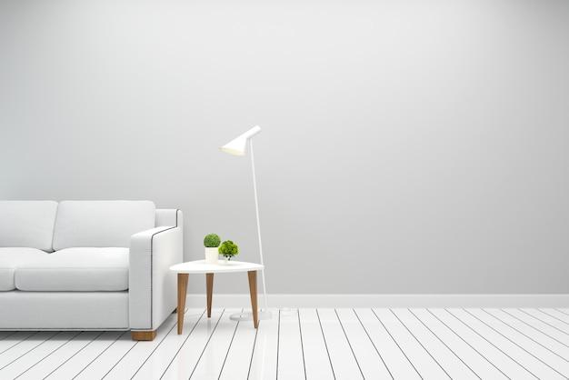 インテリアリビングルーム白いソファモダンな壁の床の木のテーブルランプの背景