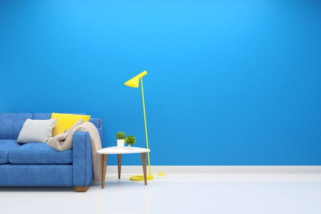 インテリアリビングルーム青いソファモダンな壁木の床のテーブルランプの背景
