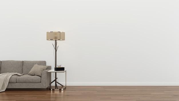 インテリアリビングルーム茶色のソファモダンな壁木の床のテーブルランプの背景