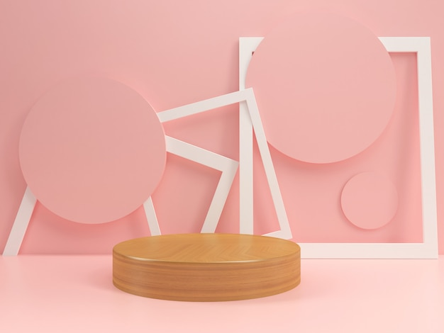 Подиум в пастельных макетах шаблон летний стиль минимальный