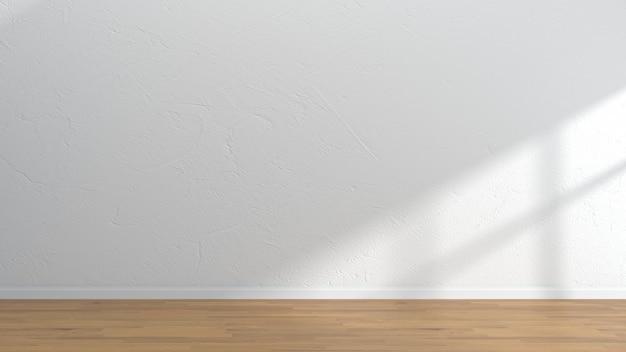 空のインテリアルームの木製の床の白い壁のテンプレート