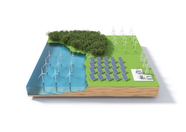 Ветряная мельница и солнечные батареи