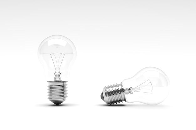 白い背景に電球