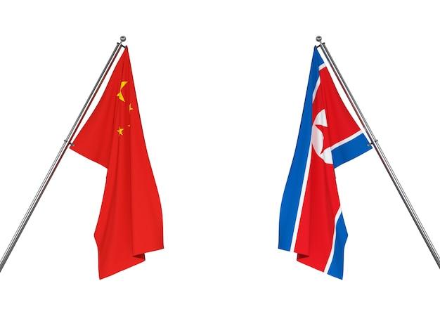 中国の旗と北朝鮮の旗