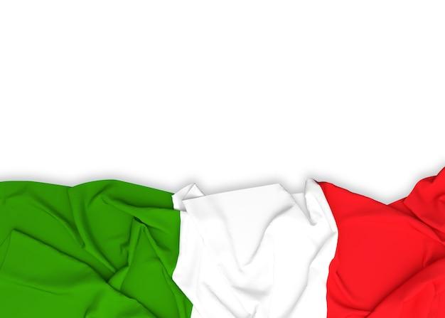 クリッピングパスと白の背景にイタリアの国旗