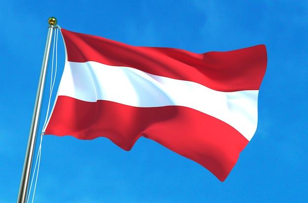 青空の背景にオーストリアの国旗