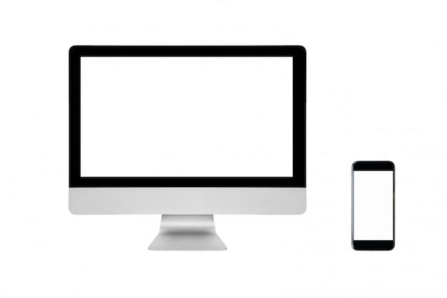 スマート現代のパソコンと白で隔離される空白の画面を持つスマートフォン。