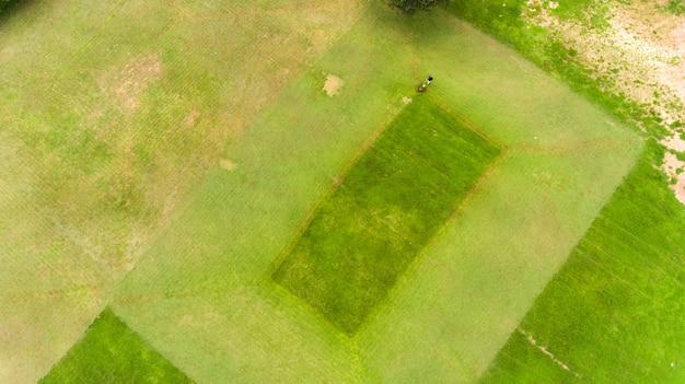 Мужчина косит траву на газоне